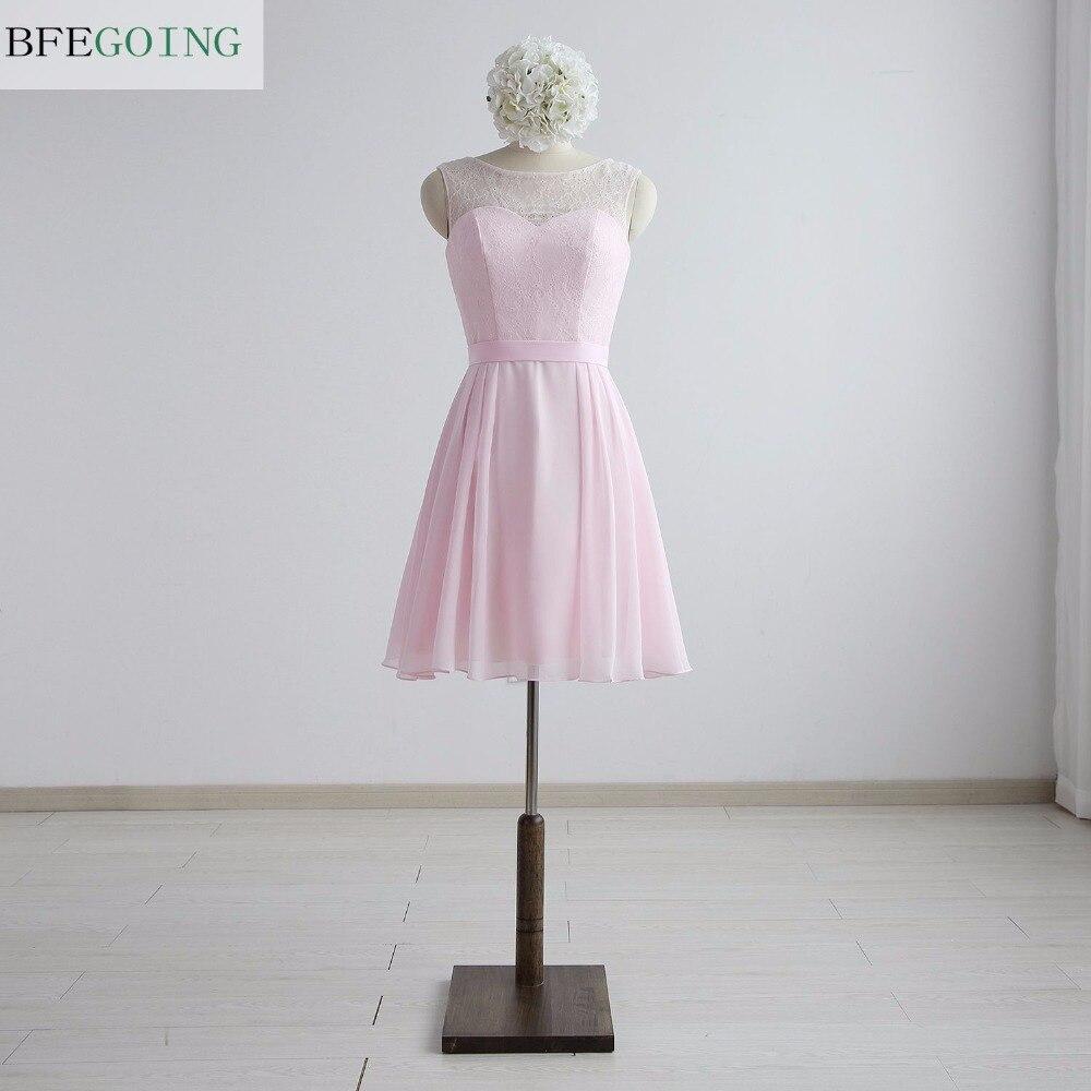 Pink Chiffon A-line Formal   Bridesmaid     Dress   Knee-Length Lace Sleeveless Real/Original Photos Custom made