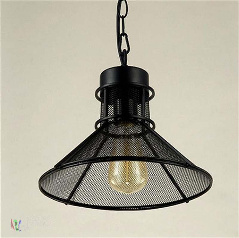 Vintage pendant lights edison bulb lamp metal lampshade for Metal hanging lights