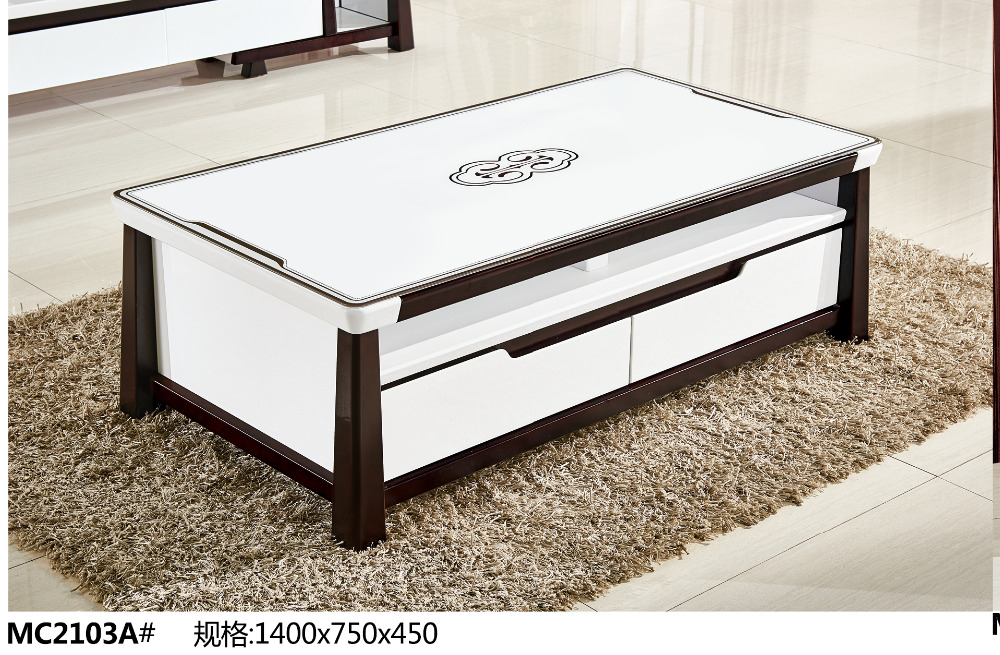 MC2103A Modern living room furniture tea table glass top with drawers coffee table tea table б у гбц 2103