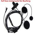 Full Face Motorcycle Helmet Headset Fone de Ouvido para Rádio Em Dois Sentidos Portátil Walkie Talkie Baofeng UV-5R UV-5RE Plus BF-888S UV-B5