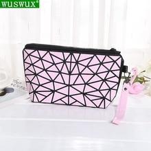 new fashion women make up bag Geometric folding cosmetic bag casual travel makeu