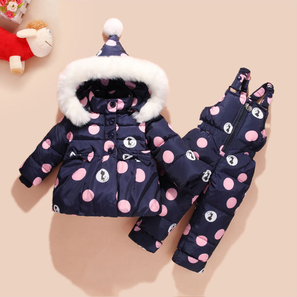Infant Baby Winter Overalls Coat Snowsuit Duck Down Toddler Girls Outfits Snow Wear Jumpsuit Bowknot Polka Dot Hoodies Jacket new infant baby winter coat snowsuit duck down toddler girls winter outfits snow wear jumpsuit rabbit cartoon hoodies jacket set