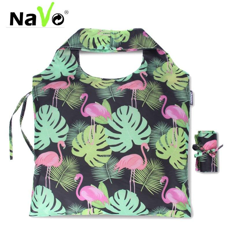 NAVO Reusable Shopping Bag Nylon Cloth Foldable Shopper Bag Eco Nylon Fabric Big Tote Fashion Design Stylish Grocery Bags
