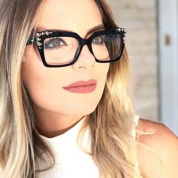 5b57983418 Gafas ópticas de acetato de mujer a la moda para mujer con marco de gafas  de prescripción para mujer gafas coloridas de diseñador de marca