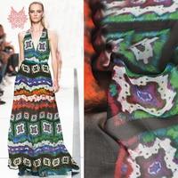 Multi color boho geometric print 100% natural silk chiffon fabric apparel for dress pure silk tissu telas fabrc 6mm SP5369