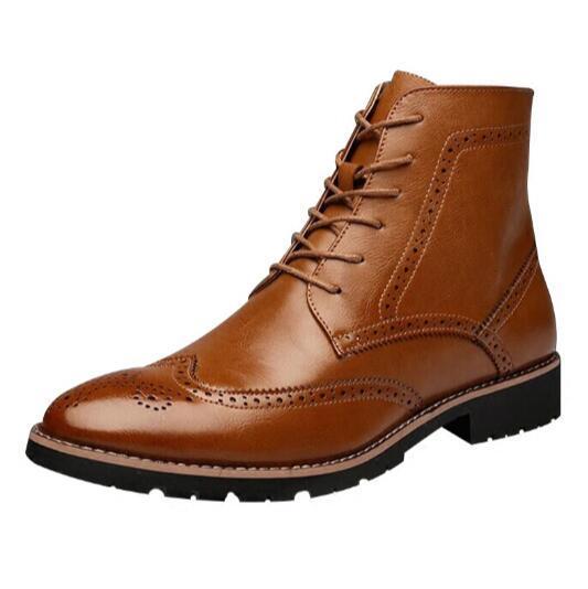 Los Hombres de la vendimia botines punta estrecha Masculinos en forma de bota zapatos de estilo Británico botas de Moto de cuero Genuino 2.4