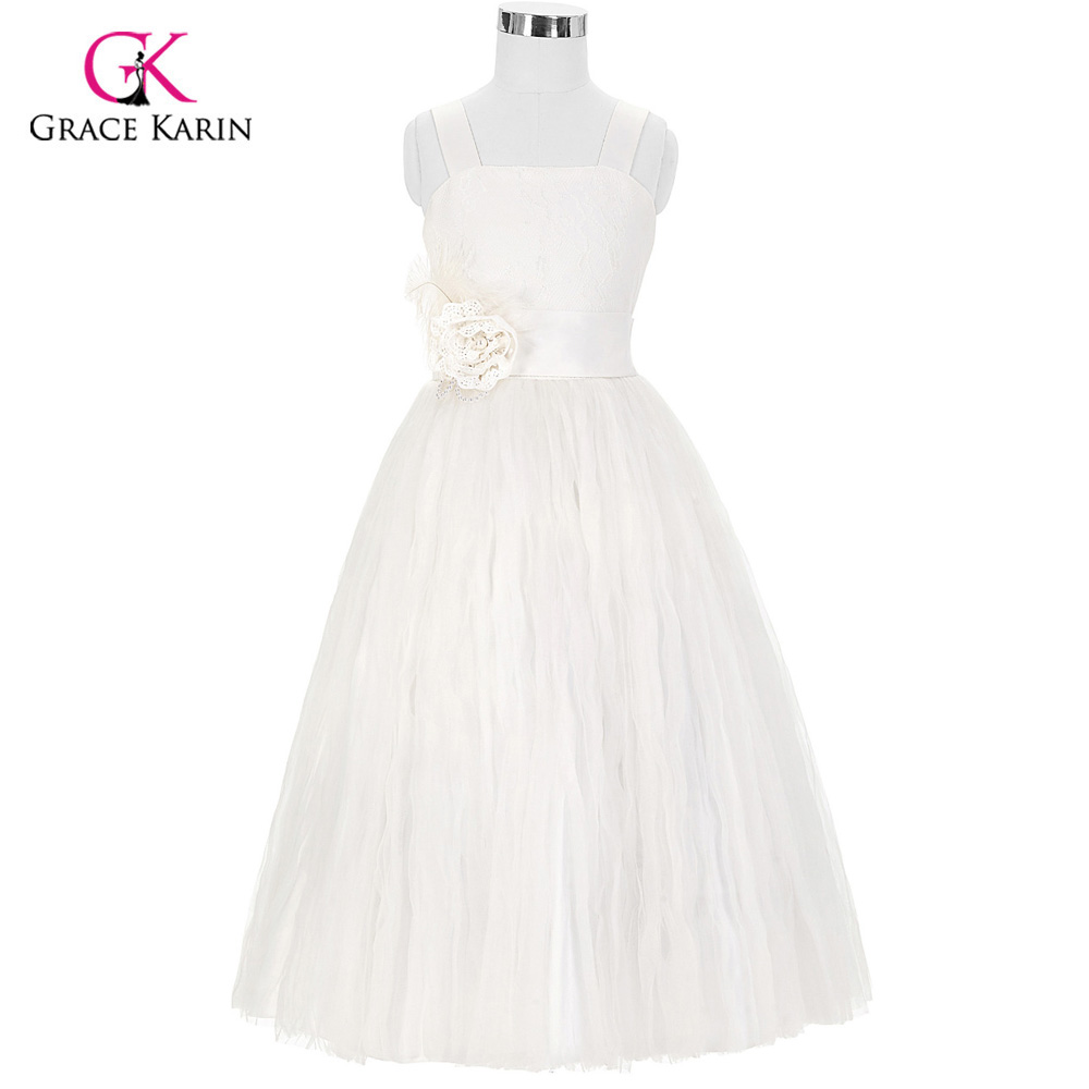 2018 New Arrival White Flower Girl Dresses With Straps Party Pageant