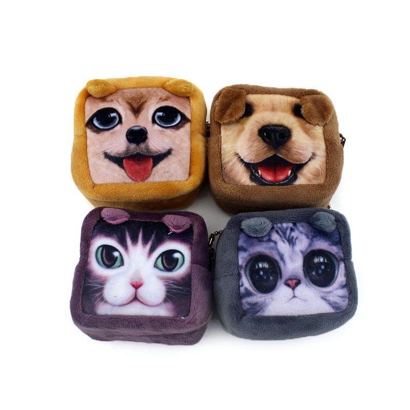 2017 Cartoon 3D Printing Cat & Dogs Children Mini Coin Purse Baby Storage Pouch Wallet Kids Coin Bag Women Mini Wallet For Gift купить