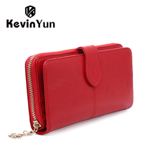 Yun kevin purses lady clutch zipper wallets oil purse wallet female