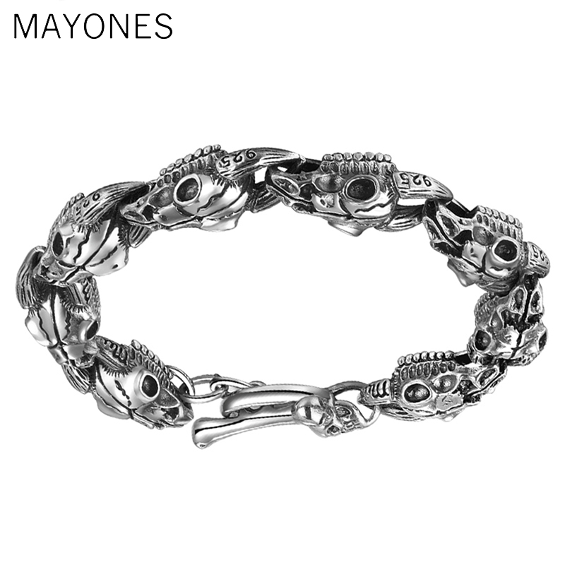 a37c0c8fda2b60 MAYONES Men's Punk Skull Sheep Head Bracelet Solid 925 Sterling Silver  Bracelet for Male Biker Vintage Thai Silver Jewelry 21cm