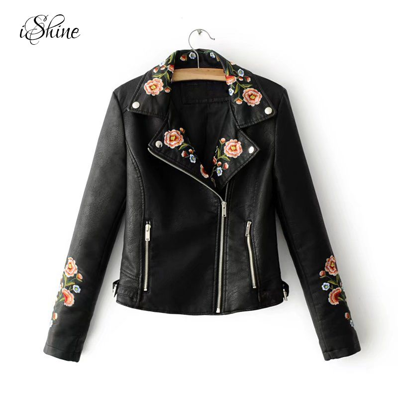 2017 Fashion Streetwear Women PU Leather   Basic     Jackets   Long Sleeve Zipper Floral Embroidery Pockets Bomber   Jacket   Coats Winter