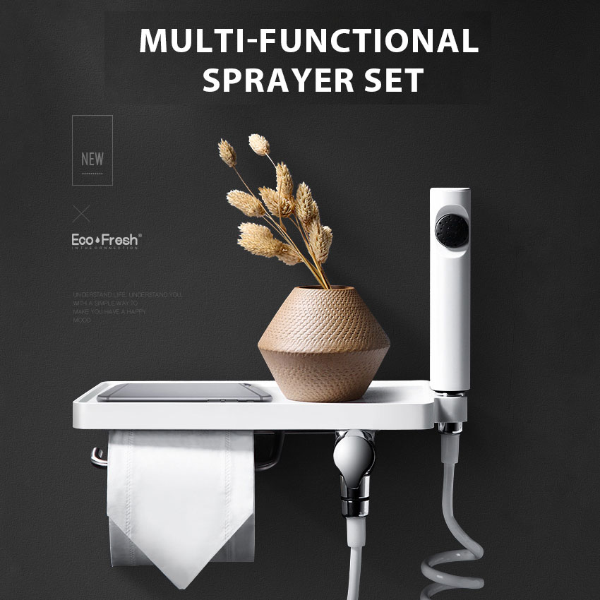 Ecofresh Wc Handheld bidé pulverizador conjunto de Mão Bidé torneira torneira para Banheiro mão chuveiro pulverizador auto limpo telefone de mesa