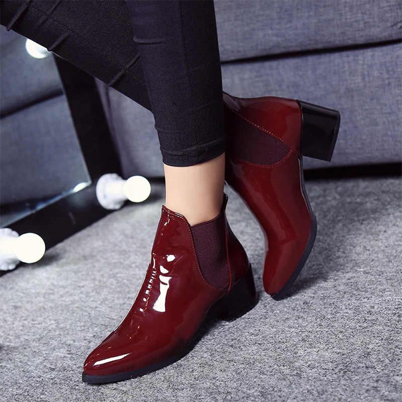 MCCKLE Kadın Blok Yüksek Topuklu Chelsea Çizmeler Sonbahar Kış yarım çizmeler Kadın Rugan Sivri Burun Kısa Moda Ayakkabı