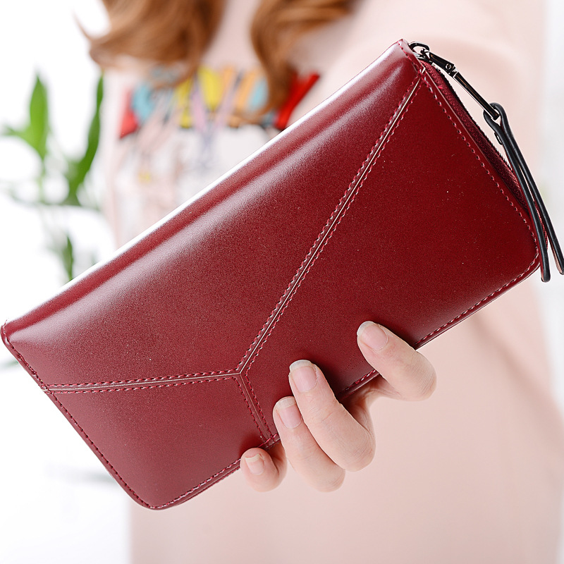Long Zipper Women Wallet Leather Female Wallet Red Coin Purse Women Clutch Lady Money Bag Girl Card Holder Business Travel Purse