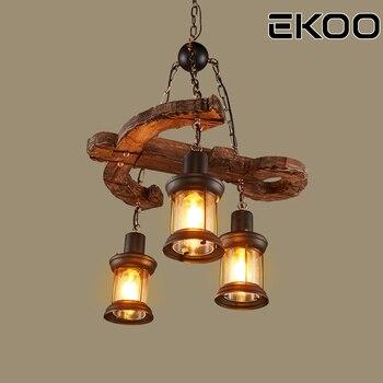 EKOO 3 Lights E27 Chandelier Vintage Industrial Retro Wood Iron Lamp Industrial Rustic Light  for restaurant bar Living Room
