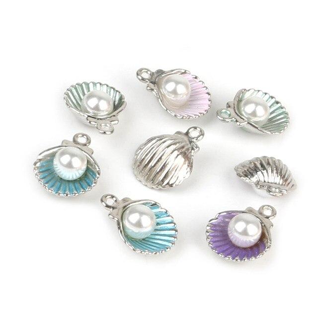 10pcs/lot Enamel Shell Alloy Charm Pendants For Women Earring Jewelry Making Fit Bracelet & Necklace DIY Jewelry Findings 5