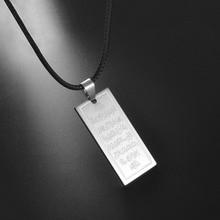 Anniyo Arabic Islam Ayat al Kursi Prayer Stainless Steel Pendant Rope Muslim Jewelry for Women Men Girls allah EID #200821