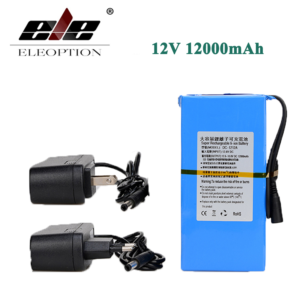 ELEOPTION Super High Capacity Rechargeable Lithium-ion Battery DC 12V 12000mAh DC-1212A With Plug