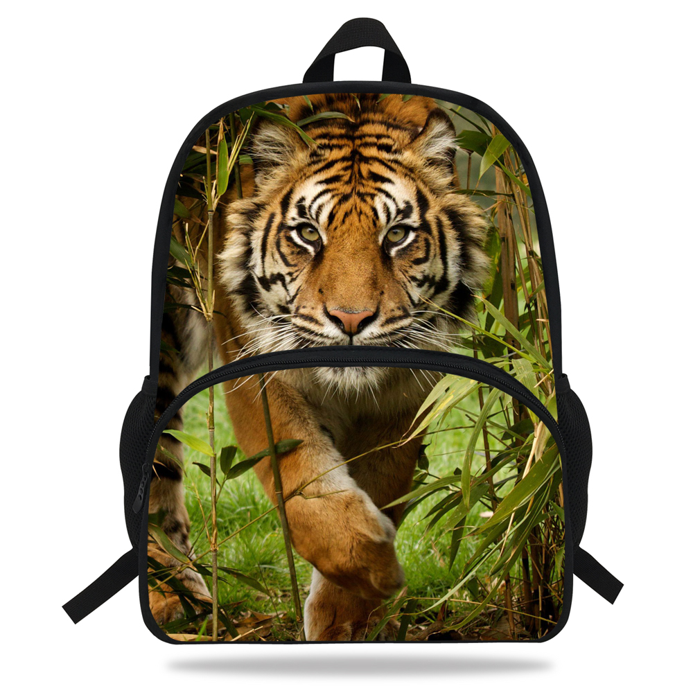 Tiger-Backpack Animal 16-Inch White Prints-Bag School-Bags Teenagers Boys Children Fashion