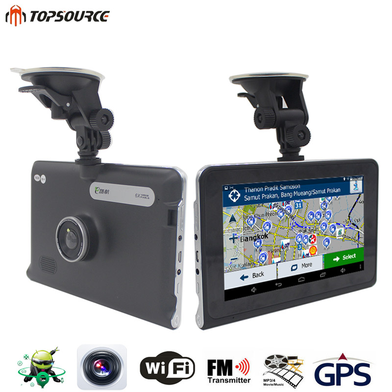 TOPSOURCE 7'' HD Car Android GPS 1080P DVR Navigation Quad-core Sat Nav Truck GPS Navigator Built in 16GB/512M Russia/Europe Map topsource 7 spian android car gps navigation europe usa uk truck gps navigator wifi 512m 16gb russian gps map for navitel