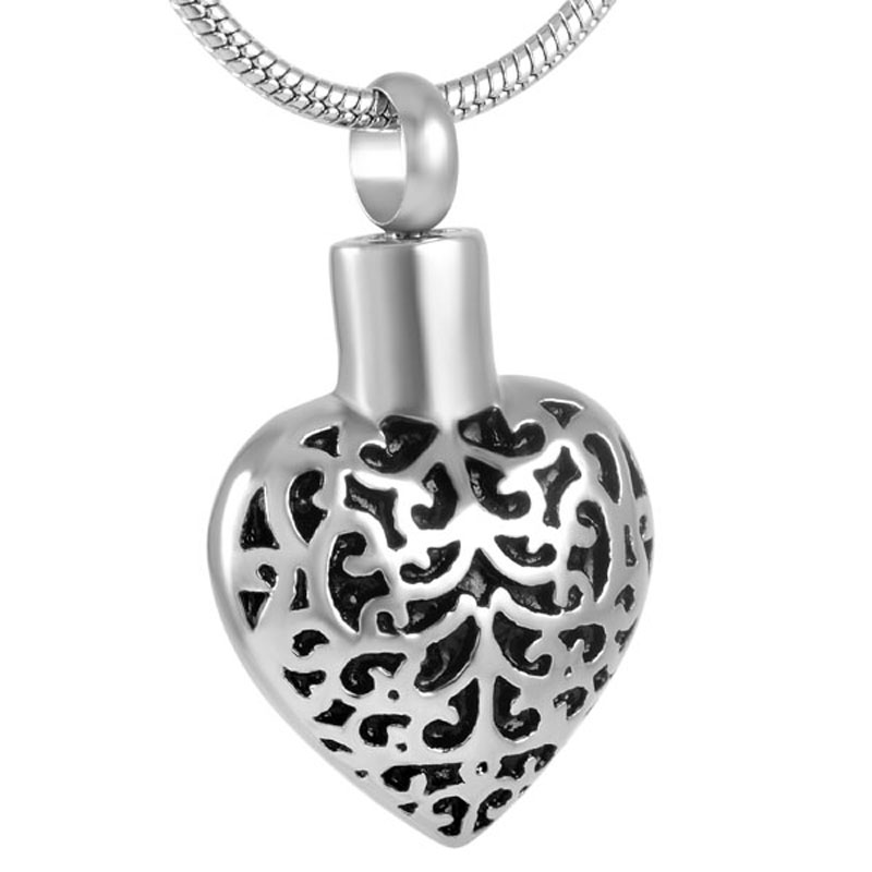 IJD8918 Vintage Flower Pattern Heart Urn Pendant for Ashes