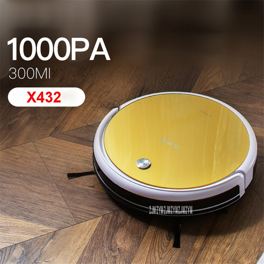 X432 100-240V Mini Robot Vacuum Cleaner for Home 22W Automatic Sweeping Dust Sterilize Smart Planned Mobile App 2600mah Battery cen546 110 220v mini robot vacuum cleaner for home automatic sweeping dust sterilize smart planned mobile app 0 3l dust box