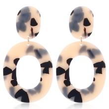 Bohopan New Big Acrylic Earrings For Women 2019 Oval Resin Leopard Drop Earring Bohemian Acetic Acid Dangle Jewelry