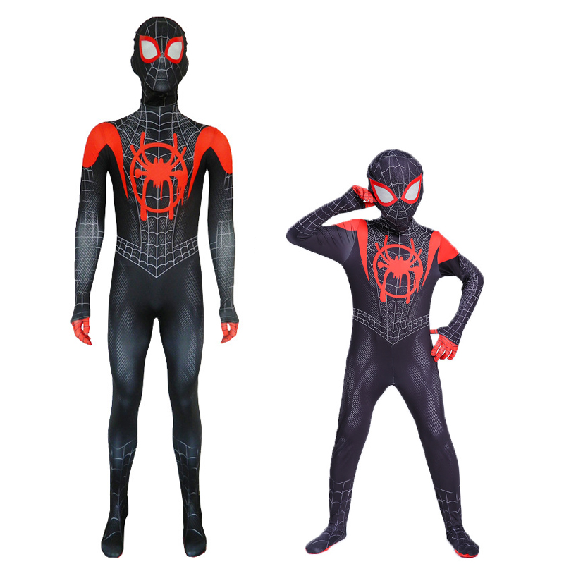 Kids Adults Spider-Man Miles Morales Costume Cosplay Spider Man Into Spider Verse Costumes Halloween Carnival Party Props