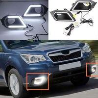 2 шт. Белый светодиодный дневный ходовой светильник DRL  противотуманная фара для Subaru Forester 2014-2016