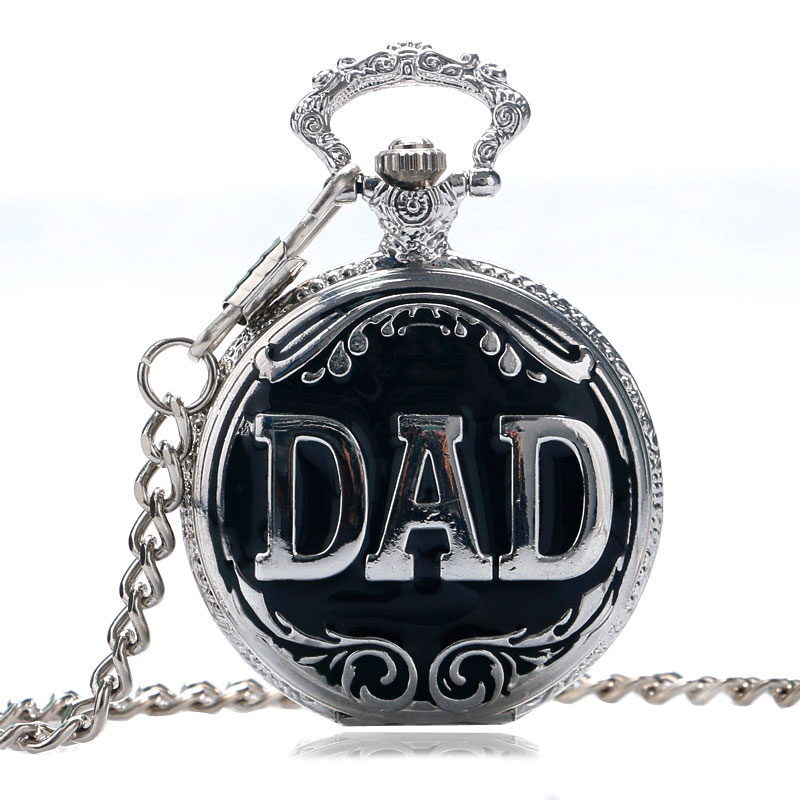 Vintage DAD Letter Pocket Watch for Father 30cm Chian Pendant Watches Daddy Birthday Gift for Pappy P1024C все цены