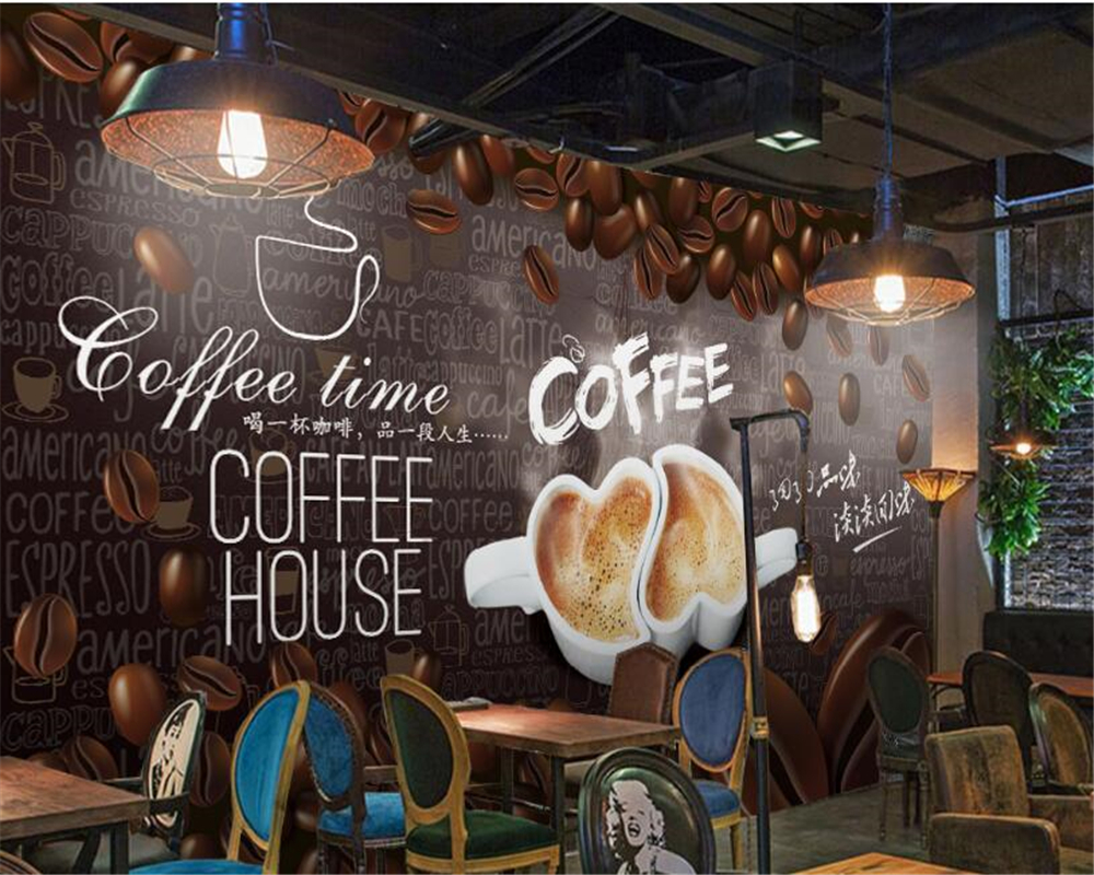 Custom High Level Wallpaper HD Hand Painted Coffee Decoration Painting Background Wall Papel De Parede 3d