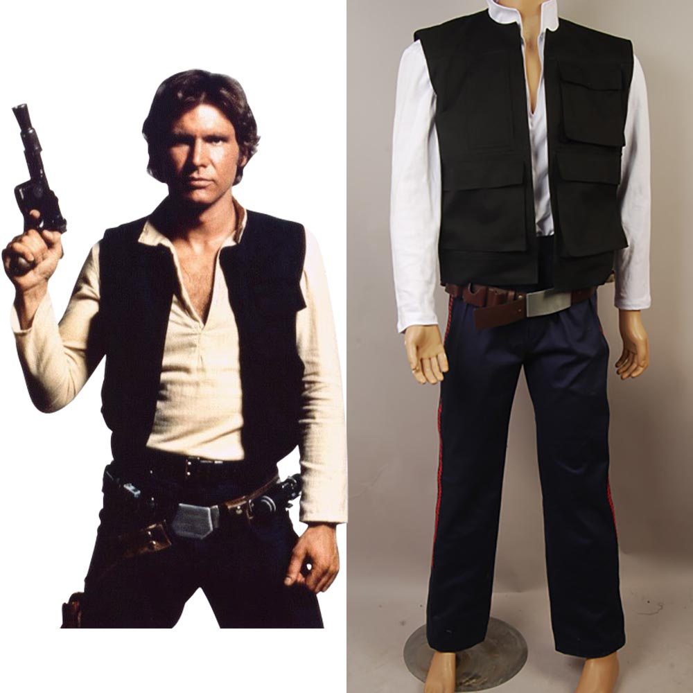 Star Wars ANH A New Hope Cosplay Han Solo Costume Full Set Uniform Vest Shirt Pants Halloween Carnival Costume