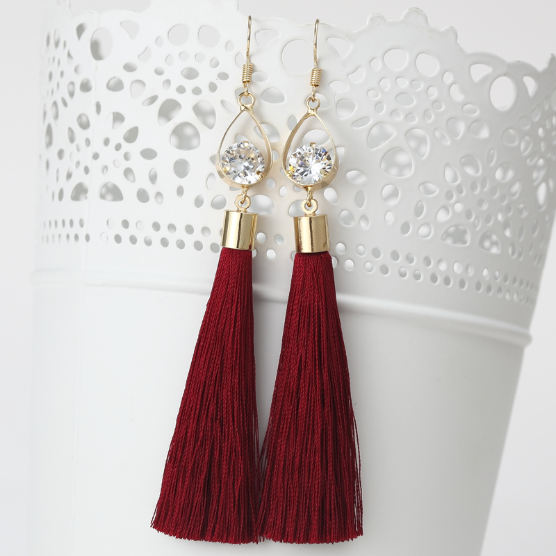 2016 Fashion Vintage Water Drop Rhinestone Lady's Long Tassel Earrings For Women Brincos Pendientes For Party ED153