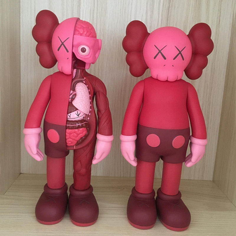 16inch Red Originalfake KAWS BLUSH Companion Dissected Limited Edition Action Figure Toys 2017 Original Fake with Red Retail Box 12 red blush