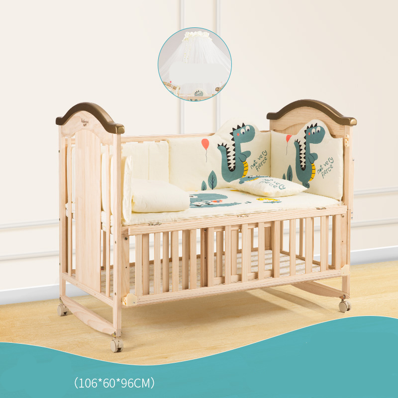 Solid Wood Baby Portable Bed Crib Adjustable Multi-function Soft Breathable Baby Cradle Bed Protector For Kids