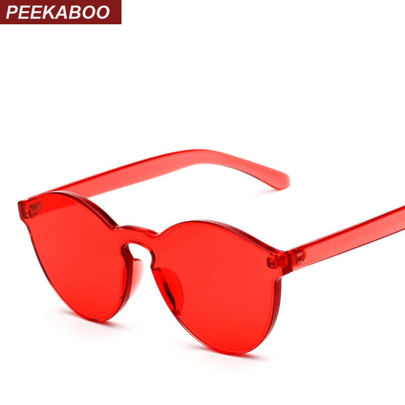 Peekaboo one piece lens sunglasses women transparent plastic glasses men style sunglasses clear candy color brand designer