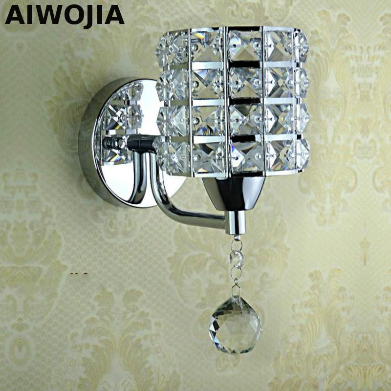 AC85-265V pull chain switch crystal wall lamp lights Modern Zipper Stainless Steel Base lighting sconces lamparas de pared