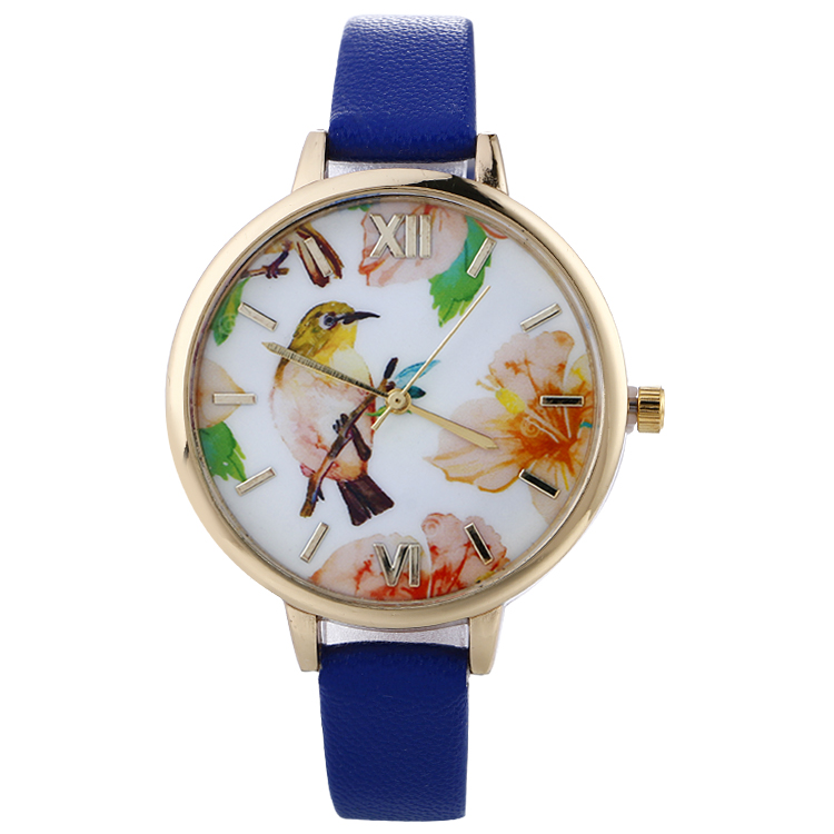 Women Watches Cute Animal Birds Pattern Dress Clock Leather Ladies Watches Women Analog Quartz Wrist Watch 100pcs/lot analog watch