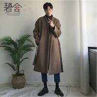S 3XL! для мужчин одежда Корейская версия длинная стильная свободные галстук ткань пальто в индивидуальном стиле, шерстяное пальто