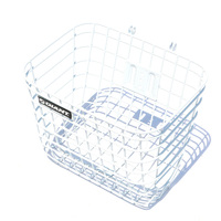 White Bike Bicycle Basket with Cover Lid Large Capacity Steel Mesh Basket Bag Riding Cycling Accessories
