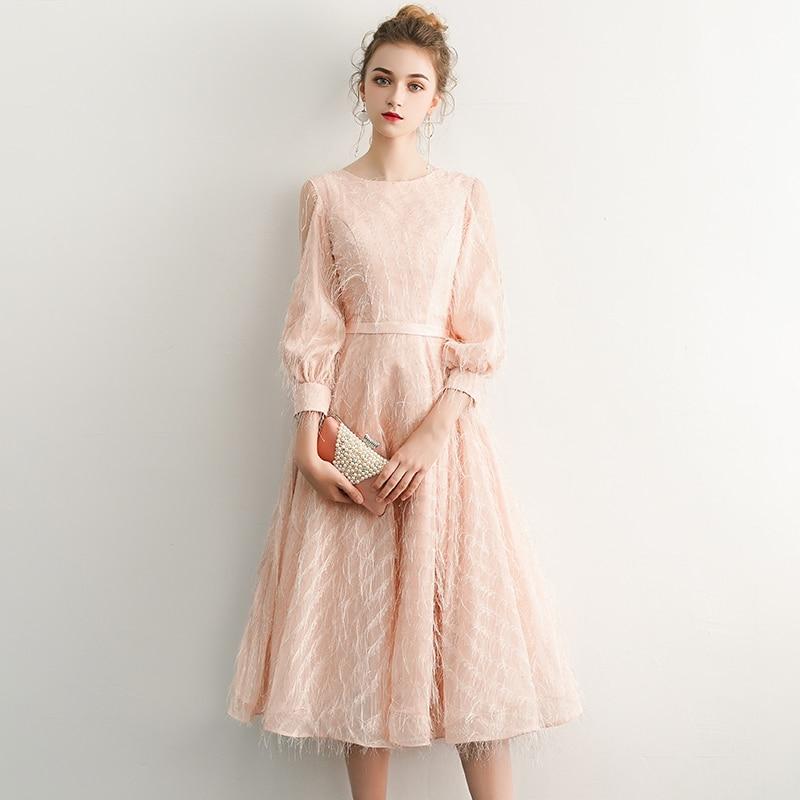 Robe De Soiree Courte Pink Vintage Lace Evening Dress Short 2019 Evening Party Dresses With Sashes Vestido De Festa LYFY13