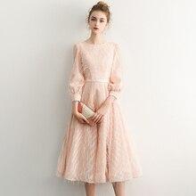Evening-Dress Pink Vintage Short Robe-De-Soiree Lace with Sashes Vestido-De-Festa LYFY13