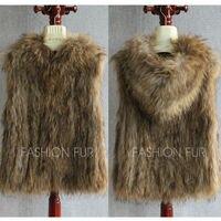 2017 капот Новый Модные женские туфли шик Натуральная мех енота вязаный жилет вязать меховой жилет пальто куртка