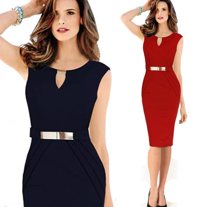 2015 Office Dresses Purple Button O Neck Work Wear Elegant Spring ...