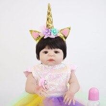55 cm Full Body Vinil Silicone Renascer Boneca de Brinquedo Do Bebê Para A Menina Macia Princesa Recém-nascidos Bebês Aniversário Bonecas Bebe Vivo brinquedo banho