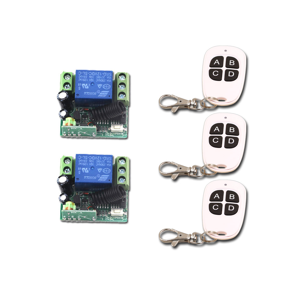 Wireless Remote Control Switch 1CH 10A Mini Relay DC 12V Remote Light LED ON/OFF Switch With Case 315Mhz/433Mhz 315 433mhz 12v 2ch remote control light on off switch 3transmitter 1receiver momentary toggle latched with relay indicator