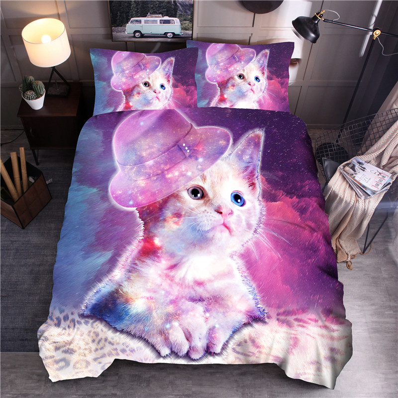 Galaxy Cat Printed Bedding Set Animal Duvet Cover Sets Queen King Quilt Cover Bed LinenGalaxy Cat Printed Bedding Set Animal Duvet Cover Sets Queen King Quilt Cover Bed Linen