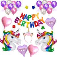 Licorne fête d'anniversaire ballon rose violet ballons joyeux anniversaire ballons fournitures ensemble coeur ballons balle gonflable licorne