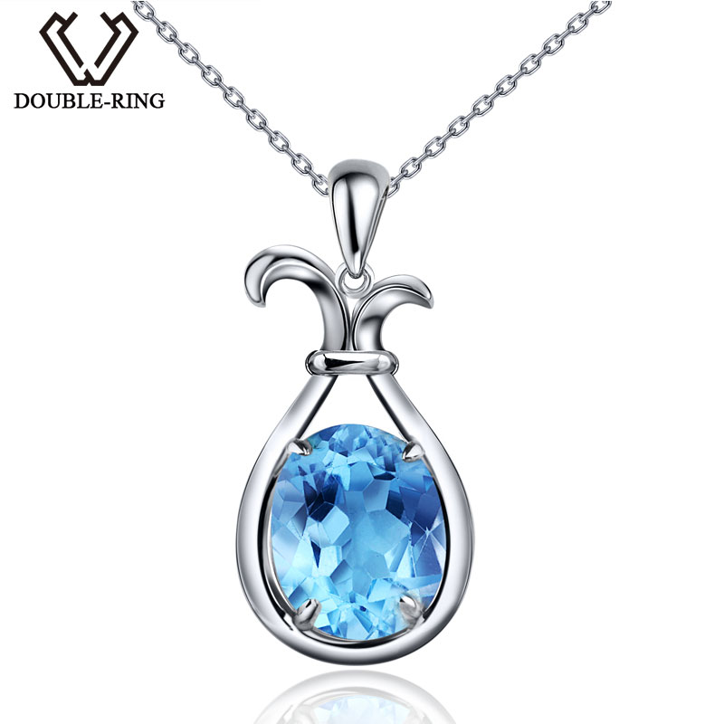 DOUBLE-R Natural Sky Blue Topaz 925 Sterling Silver Plant Pendants Gemstone for Women Fine Jewelry Necklaces