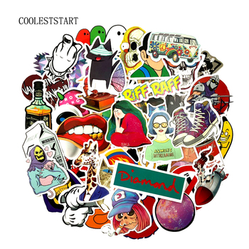 1000pcs Wholesale Funny Fashion Cool Skateboard Laptop Stickers Luggage Veneer Refrigerator Phone Toy Shape Vinyl Decals Gift